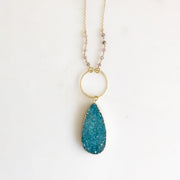 Long Teal Druzy Necklace. Teal Druzy and Strawberry Quartz Stone Necklace with Beaded Chain.