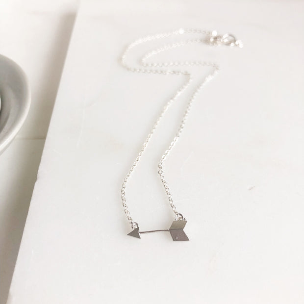 Silver Arrow Layering Necklace. Silver Layering Necklace. Simple Silver Necklace. Arrow Necklace.
