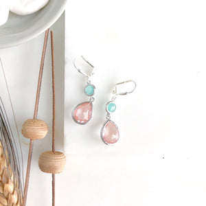 Grapefruit Pink and Aqua Dangle Drop Bridesmaid Earrings in Silver. Bridal Earrings.