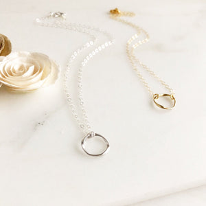Matte Twisted Circle Necklace. Layering Necklaces. Silver and Gold Layering Jewelry.