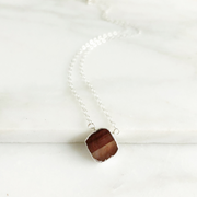 Red Tiger Eye Gemstone Slice Necklace in Sterling Silver. Dainty Layering Jewelry