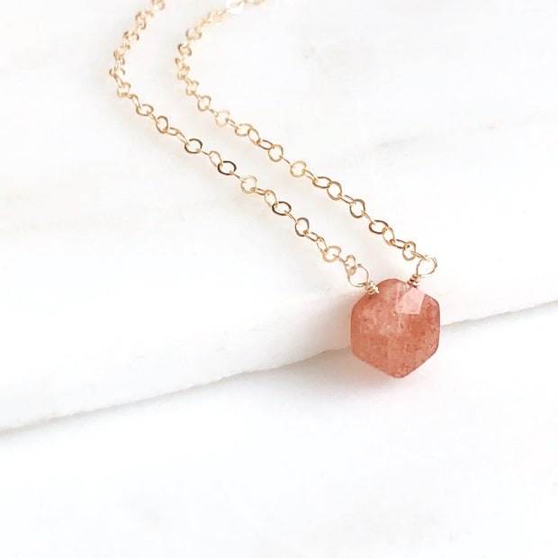 Dainty Hexagon Sunstone Necklace in Gold
