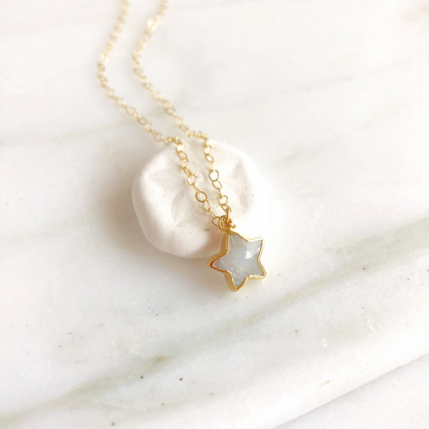 Moonstone Star Necklace in Gold. Moonstone Star Necklace. Simple Necklace. Gold Layering Necklace.