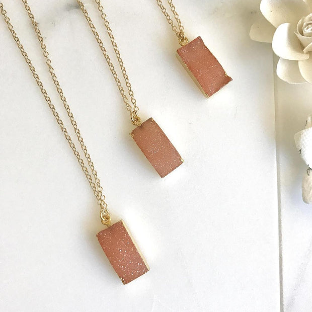 Peach Druzy Necklace. Druzy Bar Necklace. Layering Necklace. Crystal Druzy Necklace. Peach Pendant Necklace. Layered Jewelry.
