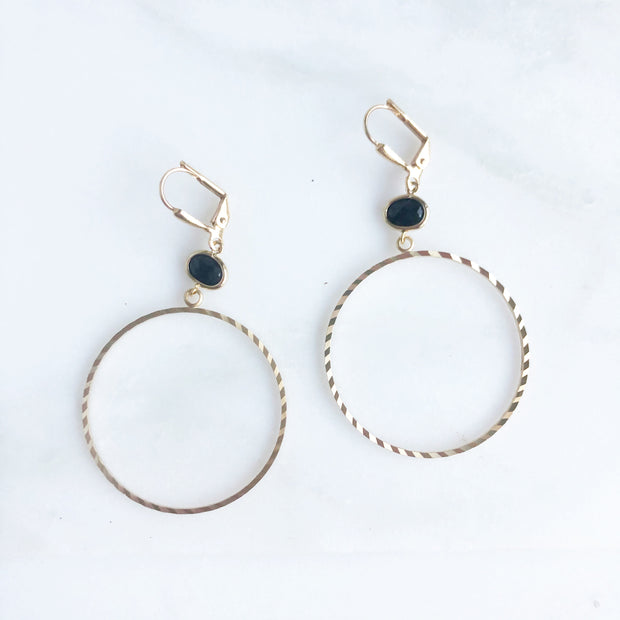Textured Gold Hoops with Small Black Stones. Gold Hoop Earrings