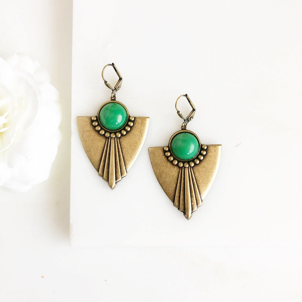 SALE Antique Bronze Shield Earrings with Green Accents.