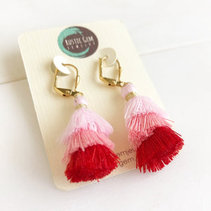 Cute Puffy Dangle Earrings in Shades of Pink. Pink Tassel Earrings. Sweet Jewelry Gift.