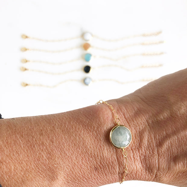 Dainty Gemstone Bracelet in Gold. Bezel Gemstone Bracelets