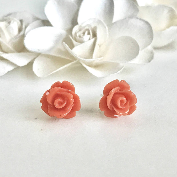 Rose Stud Earrings. Flower Post Earrings. Bridesmaids Earrings. Flower Girl Earrings