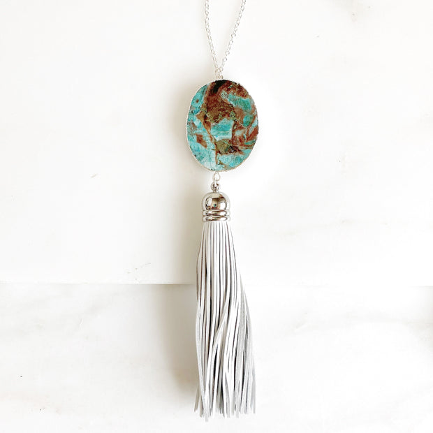 Silver Tassel Necklace with Jasper Stone. Long Leather Tassel Necklace in Silver