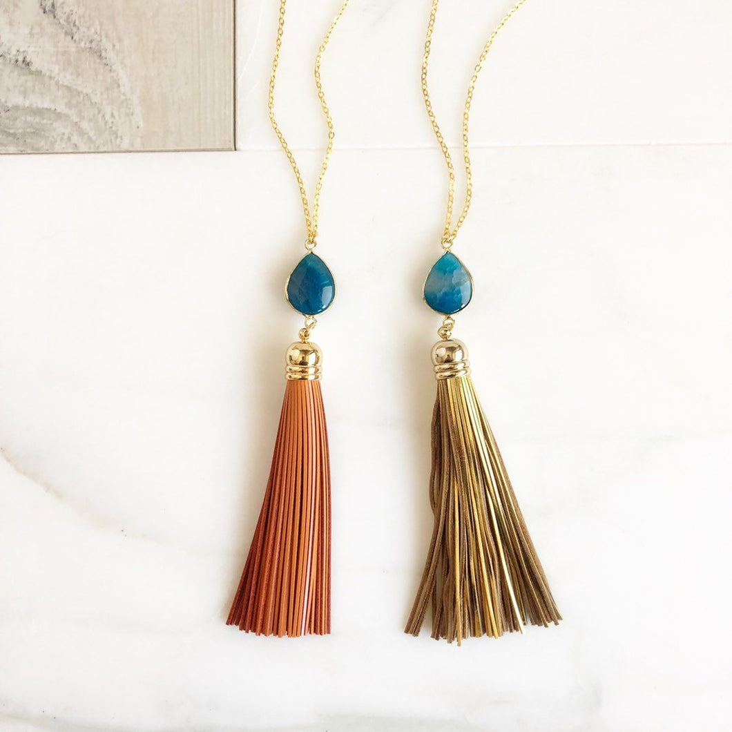 Tassel Necklace. Blue Stone and Gold or Orange Tassel Necklace. Leather Tassel. Geode Tassel Necklace. Tassel Necklace. Boho Jewelry.