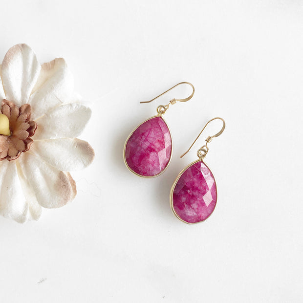 Ruby Teardrop Earrings in Gold. Simple Drop Dangle Earrings. Valentine's Day Gift