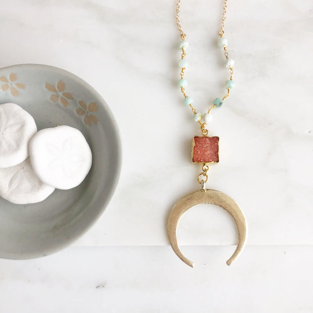 SALE - Long Gold Crescent Necklace with Coral Druzy and Amazonite Beading