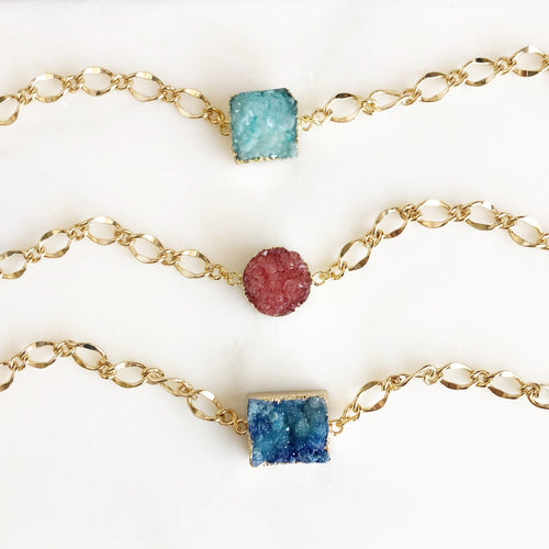 Chunky Druzy Bracelets in Gold. Blue Aqua or Coral Druzy Bracelet. Raw Crystal Bracelet. Statement Jewelry. Holiday Jewelry. Gift for Her.