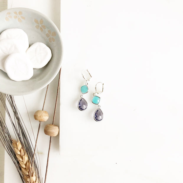 SALE Purple and Aqua Dangle Earrings in Silver. Drop Earrings. Bridesmaids Earrings.