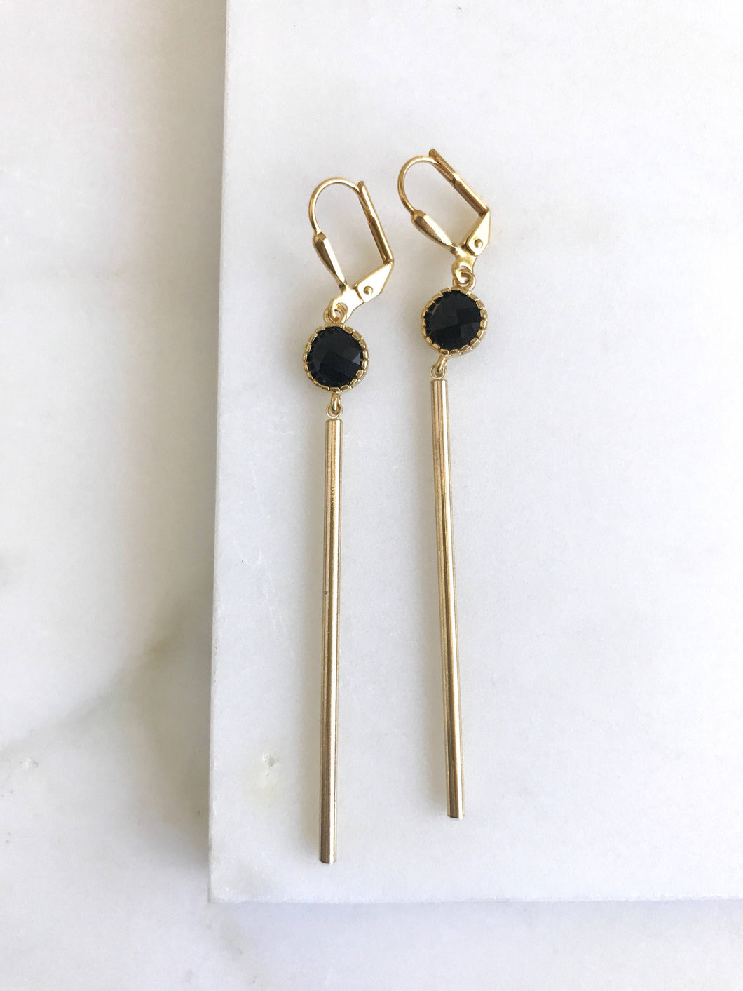 Long Bar Earrings in Black and Gold. Black Stone and Bar Earrings. Long Gold Dangle Earrings. Jewelry.