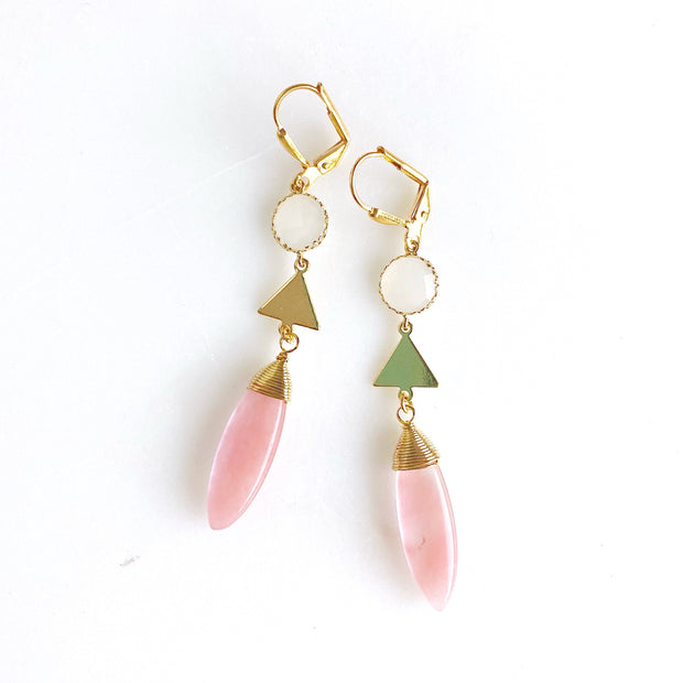 Long Cherry Quartz Earrings in Gold. Long Pink and Gold Dangle Earrings