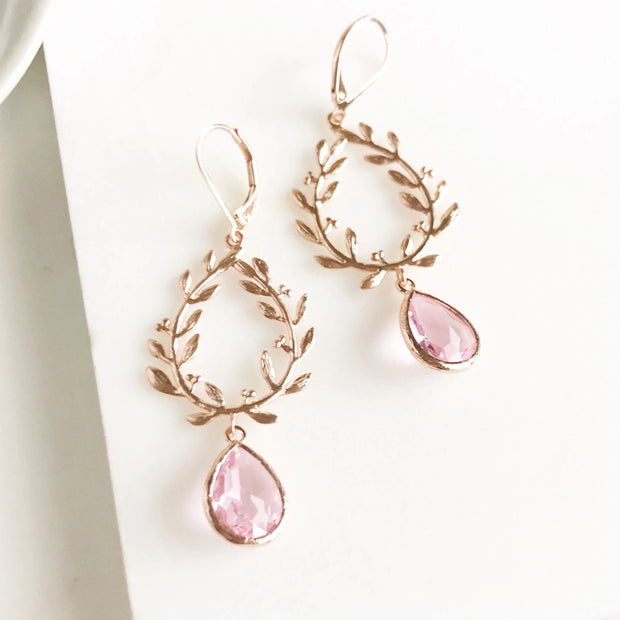 Long Rose Gold Earrings with Laurel Branch and Pink Stones. Wedding Earrings. Rose Gold Jewelry.