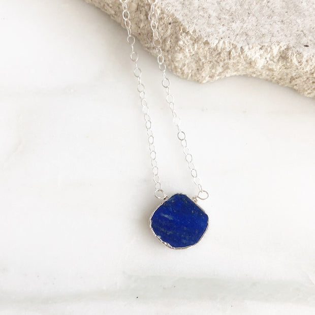 Lapis Gemstone Slice Pendant Necklace in Silver. Stone Layering Necklace