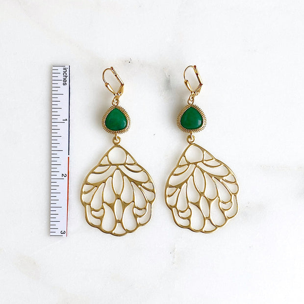 Gold Wing Earrings with Green Glass Stones. Green and Gold Dangle Earrings
