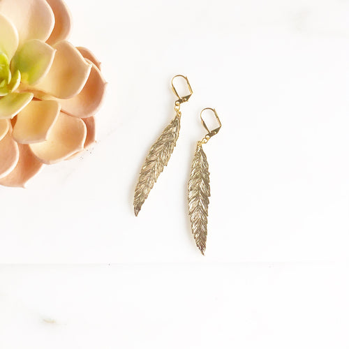 Gold Feather Earrings. Day to Evening Earrings. Gift for Her.
