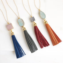 Load image into Gallery viewer, Tassel Necklace. Leather Tassel Necklace. Tassel Necklace. Long Tassel Necklace. Boho Jewelry.