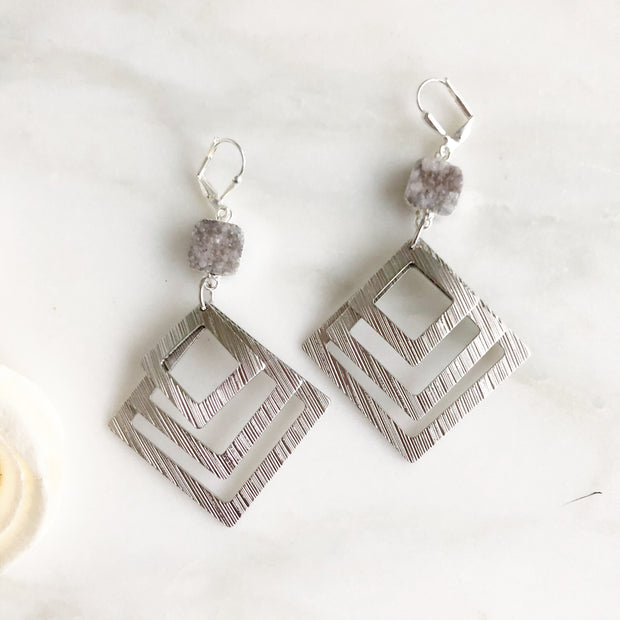 Multiple Square Statement Earrings with Pale Grey Druzy Stones in Silver.
