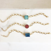 Load image into Gallery viewer, Chunky Druzy Bracelets in Gold. Blue Aqua or Coral Druzy Bracelet. Raw Crystal Bracelet. Statement Jewelry. Holiday Jewelry. Gift for Her.