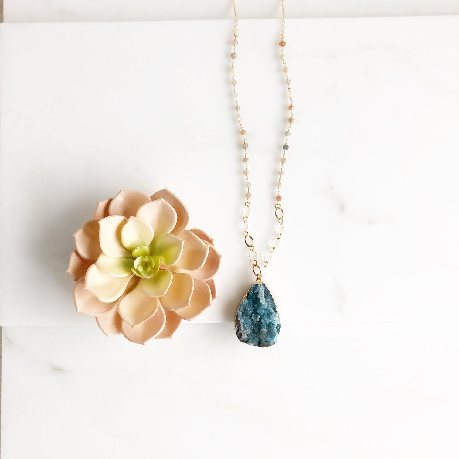 Long Teal Druzy and Moonstone Necklace in Gold.