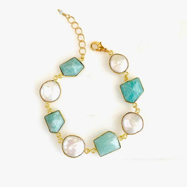 Mother of Pearl and Amazonite Bezel Bracelet in Gold