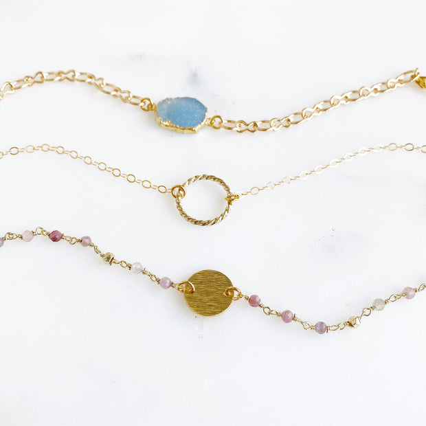 Textured Gold Coin and Pink Beaded Bracelet. Dainty Gold Charm Bracelet