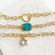 Chunky Gold Chain Bracelet Set. Gold Stacking Bracelets with Blue Ocean Jasper Gemstone Slice, Clear Quartz Star and Heart Charm