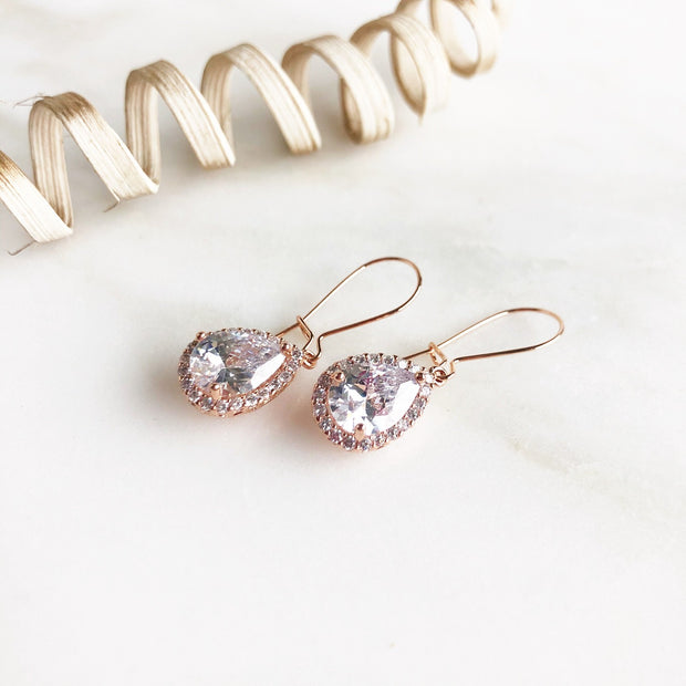 Rose Gold Drop Dangle Earrings. Bridesmaid Gift. Wedding Jewelry. Simple Rose Gold Bridal Earrings