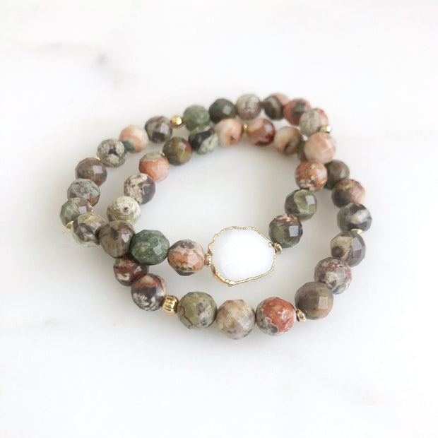 Set of 2 Stretchy Beaded Bracelets with White Druzy Quartz and Jasper Stones