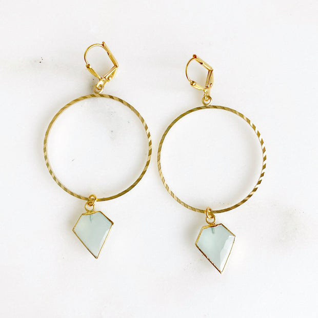 Gold Textured Hoop Earrings with Shield Stones in Amazonite, Black Sunstone and Aqua Chalcedony