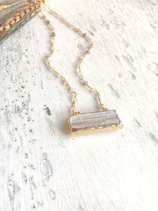 Selenite Crystal Bar Necklace with Strawberry Quartz Beaded Chain. Geode Necklace. Druzy Jewelry. Stone Necklace. Chunky Necklace. Gift.