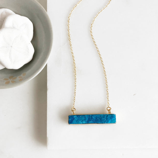 Blue Druzy Bar Necklace in Gold. Blue Druzy Necklace