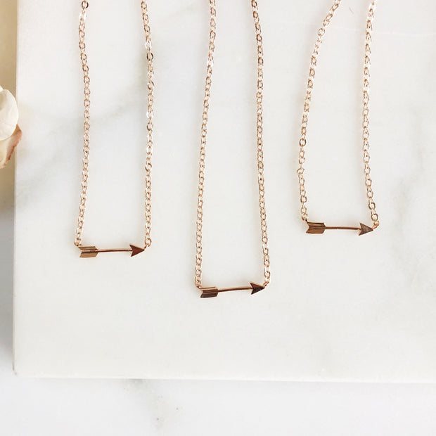 Rose Gold Arrow Necklace. Dainty Necklace. Bridesmaid Gift. Rose Gold Necklace. Bridal Necklace. Rose Gold Wedding Jewelry. Simple Necklace.