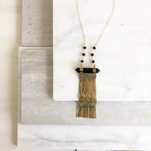 Load image into Gallery viewer, Long Gold Chain Tassel Necklace with Black Stone and Beaded Chain. Long Tassel Necklace. Tassel Jewelry. Long Necklace. Gold Necklace.