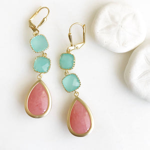 Coral and Aqua Dangle Earrings. Drop Earrings. Bridesmaids Earrings. Beach Wedding Earrings. Bridal Earrings. Bridesmaids Gift.