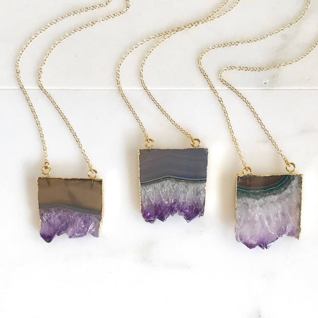 Amethyst Slice Crystal Necklace. Natural Druzy Geode Necklace