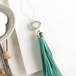 Tassel Necklace. Leather Tassel Necklace. White Druzy and Aqua Tassel Necklace. Long Silver Necklace