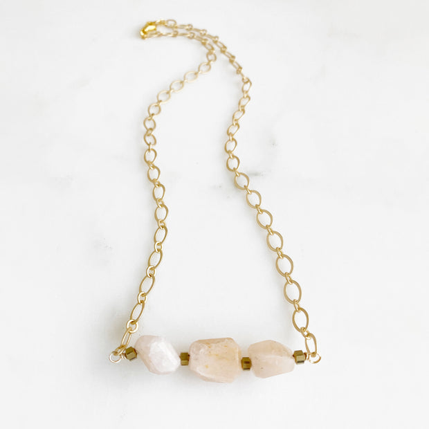 Raw Morganite Pink Stone Necklace in Gold. Chunky Pink Crystal Necklace