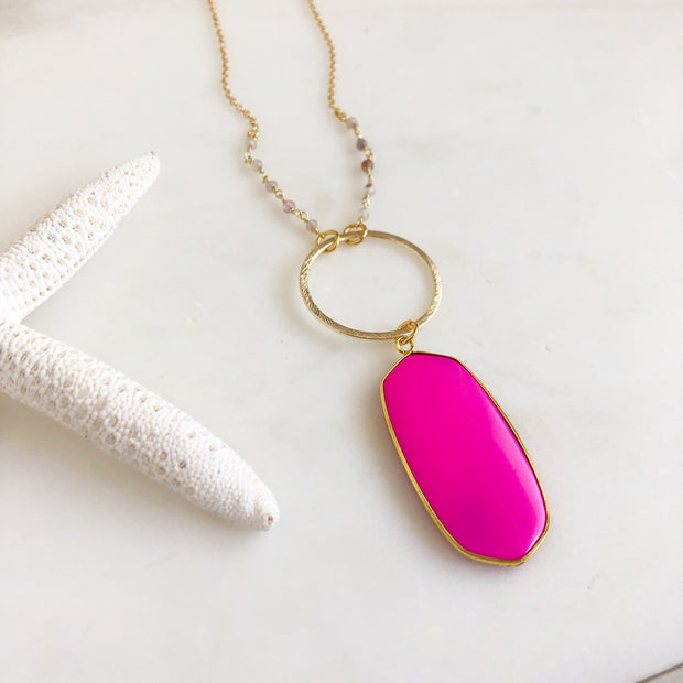 Hot Pink Oval Shield Necklace with Strawberry Quartz Beaded Chain in Gold. Long Gold Necklace.