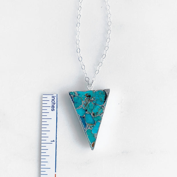 Turquoise Triangle Pendant Necklace in Sterling Silver. Unique Turquoise Necklace