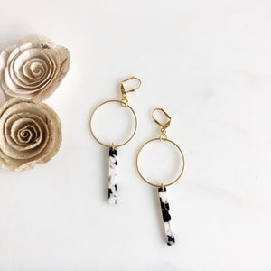 Gold Hoop Earrings. Acrylic Tourtise Shell Dangle Earrings. Black and White Stick Earrings.