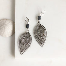 Load image into Gallery viewer, Big Silver Statement Earrings with Labradorite Stones
