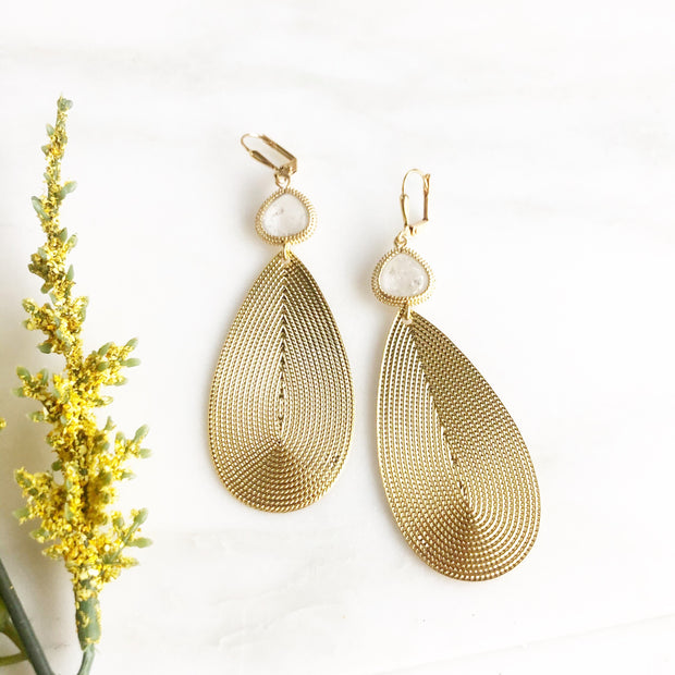 Gold Statement Earrings with Crystal Clear Glass Stones