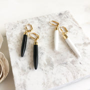 Gemstone Spike Dangle Earrings. Black and White Stick Earrings