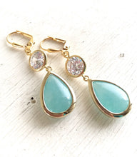 Load image into Gallery viewer, Earrings Aqua Teardrop and Clear CZ Dangle Bridesmaid Earrings in Gold. Drop Earrings. Turquoise Dangle Earrings. Bridal Party Jewelry.